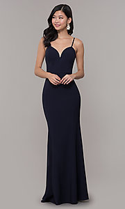 Image of long fitted simple sweetheart prom dress by Simply. Style: MCR-SD-2652 Detail Image 7