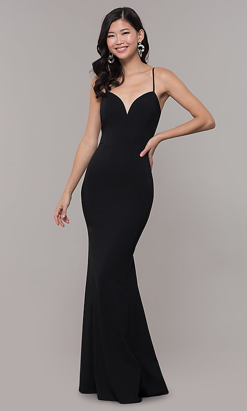 Image of long fitted simple sweetheart prom dress by Simply. Style: MCR-SD-2652 Detail Image 4