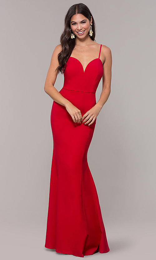 Image of long fitted simple sweetheart prom dress by Simply. Style: MCR-SD-2652 Detail Image 5