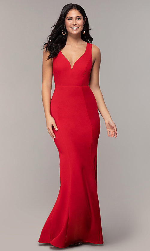 Image of long mermaid v-neck prom dress by Simply. Style: MCR-SD-2650 Detail Image 4