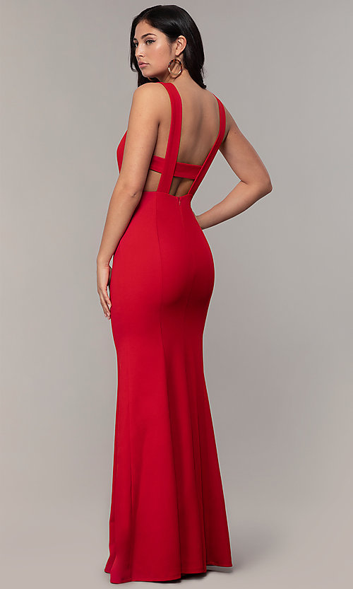 Image of long mermaid v-neck prom dress by Simply. Style: MCR-SD-2650 Detail Image 5