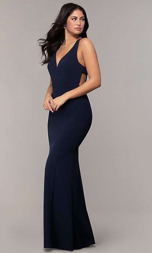Image of long mermaid v-neck prom dress by Simply. Style: MCR-SD-2650 Back Image
