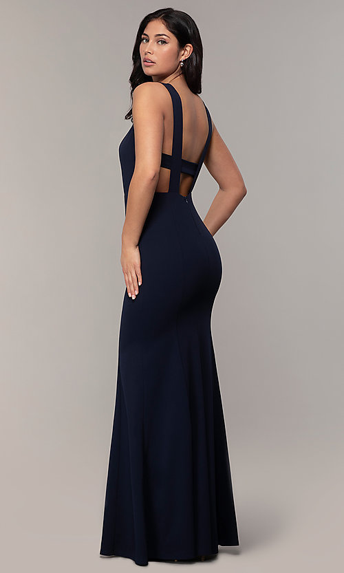 Image of long mermaid v-neck prom dress by Simply. Style: MCR-SD-2650 Front Image