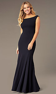 Image of long navy blue off-the-shoulder prom dress by Simply. Style: MCR-SD-2649 Front Image
