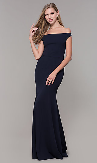 Long Navy Blue Off-the-Shoulder Prom Dress by Simply