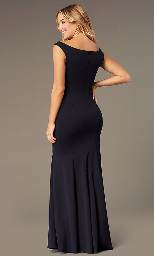 Image of long navy blue off-the-shoulder prom dress by Simply. Style: MCR-SD-2649 Back Image
