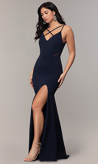 Criss-Cross-Front V-Neck Navy Prom Dress by Simply