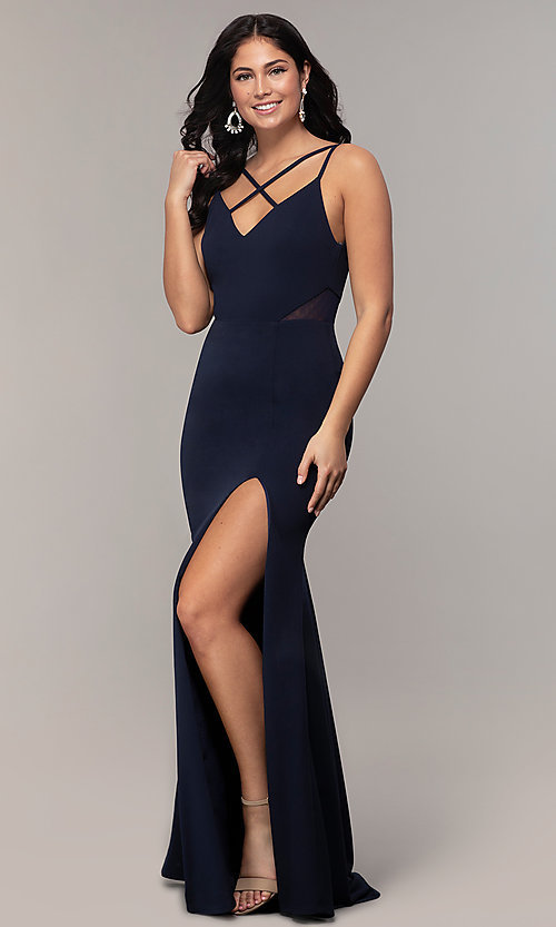 Image of criss-cross-front v-neck navy prom dress by Simply. Style: MCR-SD-2647 Detail Image 3