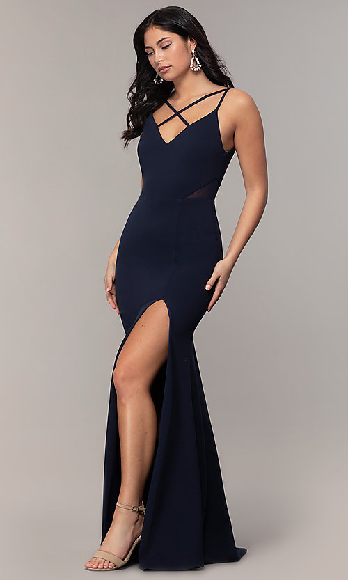 Image of criss-cross-front v-neck navy prom dress by Simply. Style: MCR-SD-2647 Front Image