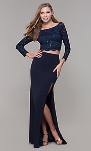 Image of long two-piece 3/4-sleeve prom dress by PromGirl. Style: MCR-PL-2646 Front Image