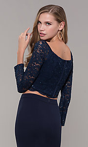 Image of long two-piece 3/4-sleeve prom dress by PromGirl. Style: MCR-PL-2646 Detail Image 2