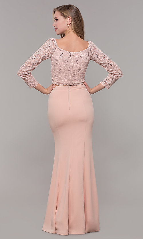 Image of long two-piece 3/4-sleeve prom dress by PromGirl. Style: MCR-PL-2646 Detail Image 5