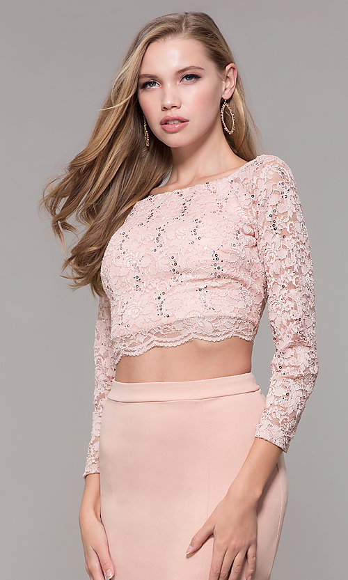 Image of long two-piece 3/4-sleeve prom dress by PromGirl. Style: MCR-PL-2646 Detail Image 6