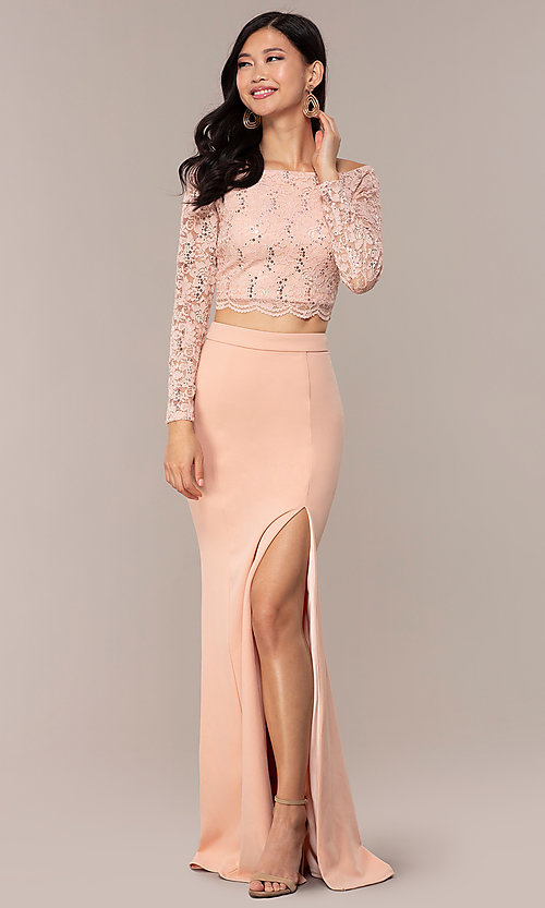 Image of long two-piece 3/4-sleeve prom dress by PromGirl. Style: MCR-PL-2646 Detail Image 4