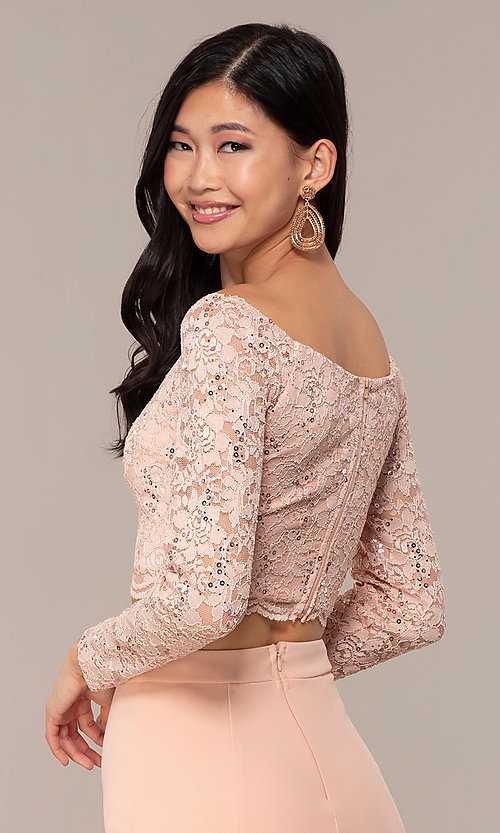 Image of long two-piece 3/4-sleeve prom dress by PromGirl. Style: MCR-PL-2646 Detail Image 7