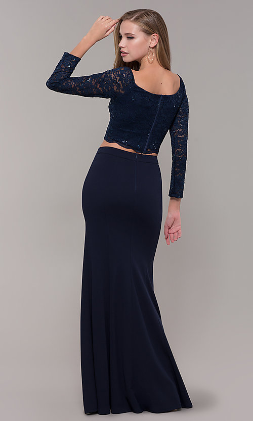 Image of long two-piece 3/4-sleeve prom dress by PromGirl. Style: MCR-PL-2646 Back Image