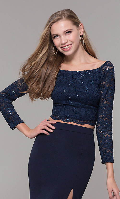 Image of long two-piece 3/4-sleeve prom dress by PromGirl. Style: MCR-PL-2646 Detail Image 1