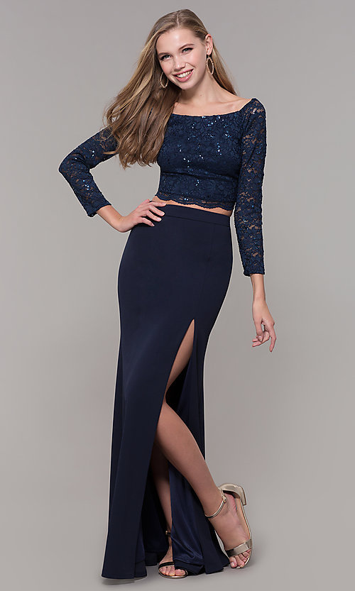 Image of long two-piece 3/4-sleeve prom dress by PromGirl. Style: MCR-PL-2646 Detail Image 3