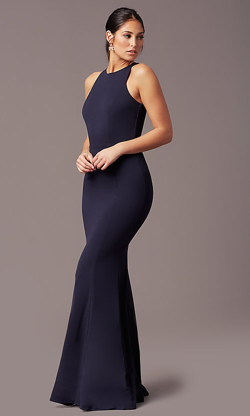 Image of long navy blue sleeveless prom dress by Simply. Style: MCR-SD-2648 Front Image