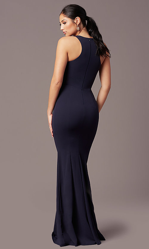 Image of long navy blue sleeveless prom dress by Simply. Style: MCR-SD-2648 Back Image