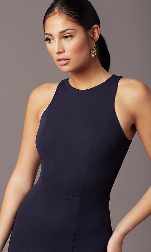 Image of long navy blue sleeveless prom dress by Simply. Style: MCR-SD-2648 Detail Image 1