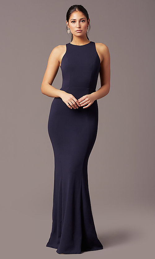 Image of long navy blue sleeveless prom dress by Simply. Style: MCR-SD-2648 Detail Image 2