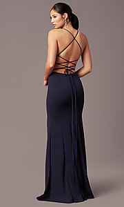 Image of corset-tie long v-neck prom dress by Simply. Style: MCR-SD-2662 Back Image