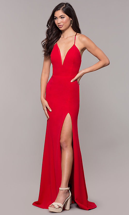 Image of corset-tie long v-neck prom dress by Simply. Style: MCR-SD-2662 Detail Image 7