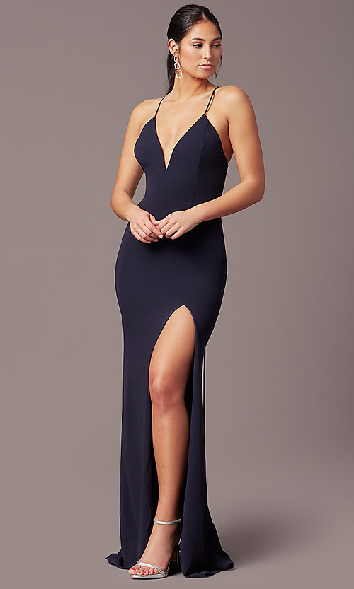 Image of corset-tie long v-neck prom dress by Simply. Style: MCR-SD-2662 Detail Image 2