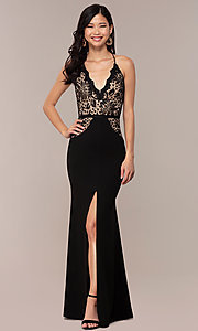 Image of long v-neck lace-bodice prom dress by Simply. Style: MCR-SD-3048 Detail Image 7