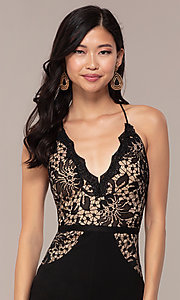 Image of long v-neck lace-bodice prom dress by Simply. Style: MCR-SD-3048 Detail Image 5