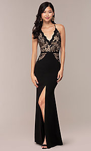 Image of long v-neck lace-bodice prom dress by Simply. Style: MCR-SD-3048 Detail Image 3
