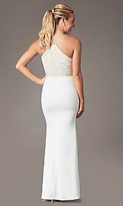 Image of long v-neck lace-bodice prom dress by Simply. Style: MCR-SD-3048 Back Image