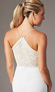 Image of long v-neck lace-bodice prom dress by Simply. Style: MCR-SD-3048 Detail Image 2