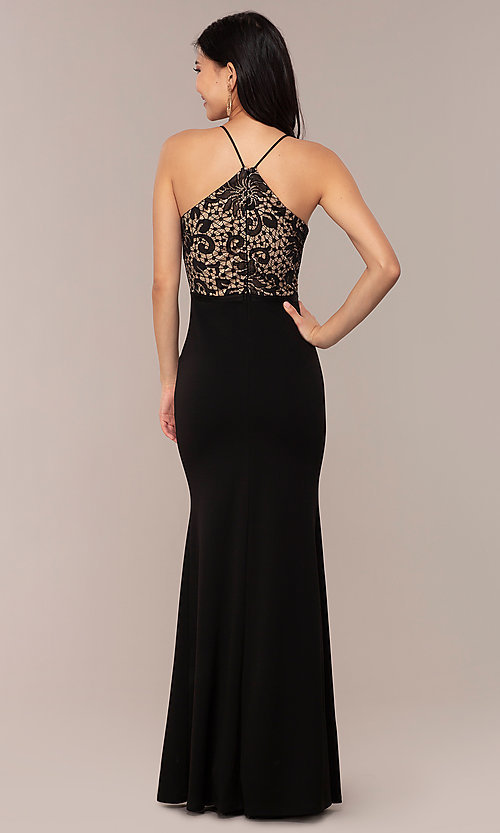 Image of long v-neck lace-bodice prom dress by Simply. Style: MCR-SD-3048 Detail Image 4
