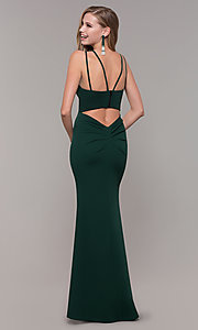 Image of long double-strap v-neck prom dress by Simply. Style: MCR-SD-3049 Detail Image 4