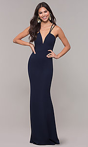 Image of long double-strap v-neck prom dress by Simply. Style: MCR-SD-3049 Detail Image 3