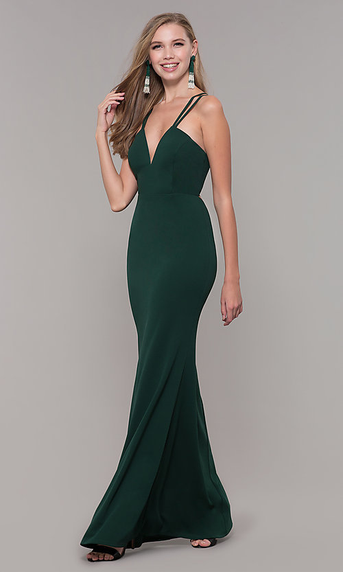 Image of long double-strap v-neck prom dress by Simply. Style: MCR-SD-3049 Detail Image 5