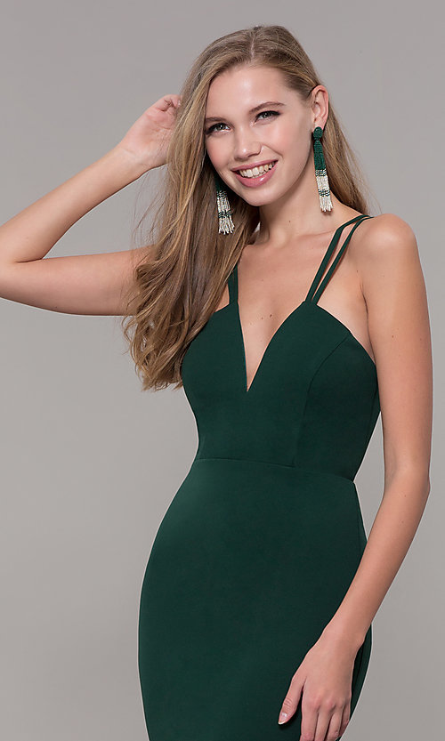 Image of long double-strap v-neck prom dress by Simply. Style: MCR-SD-3049 Detail Image 6