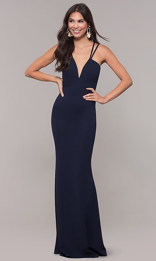 Image of long double-strap v-neck prom dress by Simply. Style: MCR-SD-3049 Back Image
