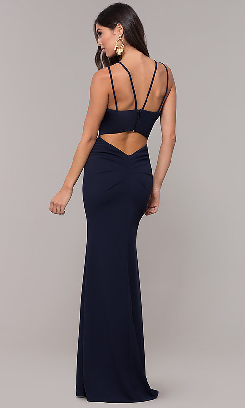 Image of long double-strap v-neck prom dress by Simply. Style: MCR-SD-3049 Front Image