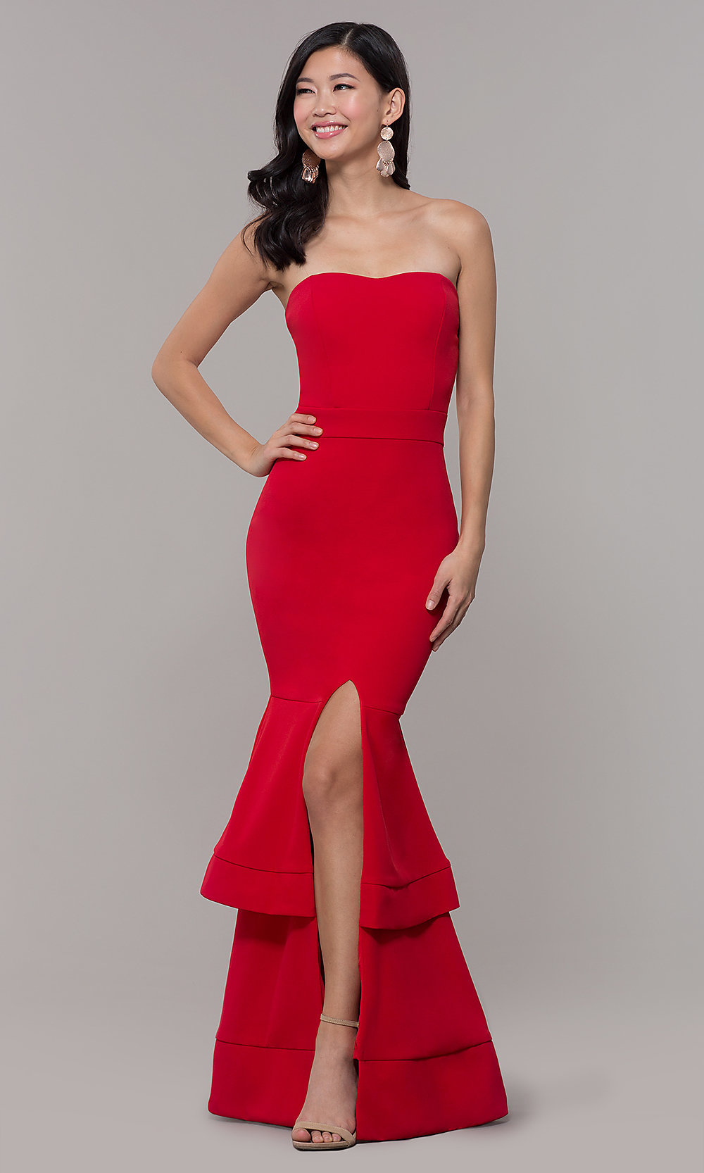 50c59cfbd77 Tiered-Skirt Long Sweetheart Red Prom Dress - PromGirl