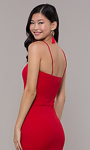 Image of long sweetheart red tiered prom dress by Simply. Style: MCR-SD-3046 Detail Image 2