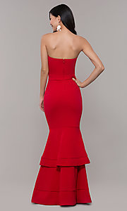 Image of long sweetheart red tiered prom dress by Simply. Style: MCR-SD-3046 Detail Image 5