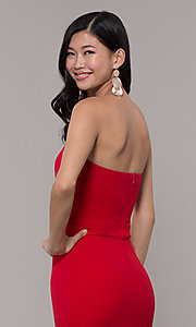 Image of long sweetheart red tiered prom dress by Simply. Style: MCR-SD-3046 Detail Image 7