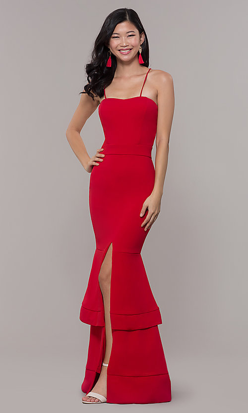 Image of long sweetheart red tiered prom dress by Simply. Style: MCR-SD-3046 Detail Image 3