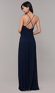 Image of long chiffon v-neck prom dress by Simply. Style: MCR-SD-3047 Back Image
