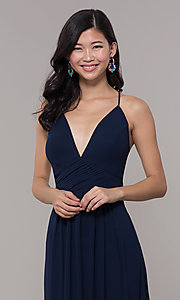 Image of long chiffon v-neck prom dress by Simply. Style: MCR-SD-3047 Detail Image 1