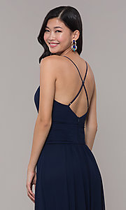 Image of long chiffon v-neck prom dress by Simply. Style: MCR-SD-3047 Detail Image 2