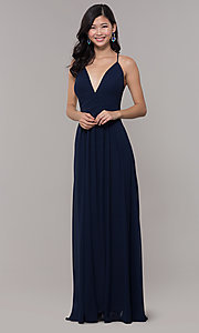 Image of long chiffon v-neck prom dress by Simply. Style: MCR-SD-3047 Detail Image 3